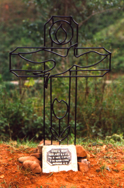 I designed this accident site marker for Krista. It was crafted with love and care by local MCC workers.