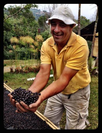 A proud Costa Rican coffee farmer